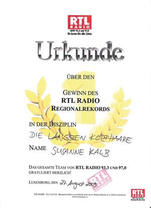 Urkunde von RTL-Radio